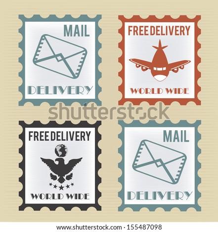 Free delivery postage stamp over beige background vector illustration - stock vector