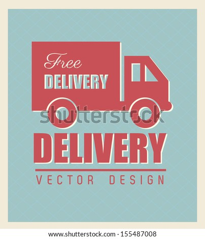 Free delivery seal over blue background vector illustration - stock vector
