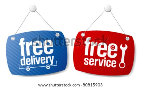 Free delivery signs set. - stock vector