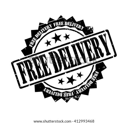 free delivery stamp on a white, vector illustration