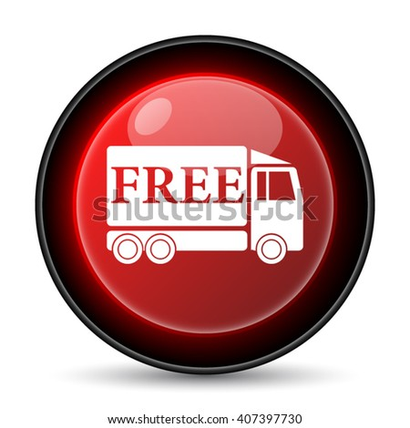 Free delivery truck icon. Internet button on white background. EPS10 vector - stock vector