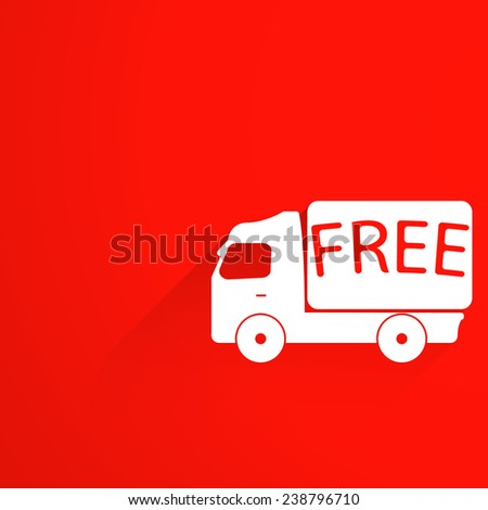 free delivery truck on red background stock vector illustration - stock vector