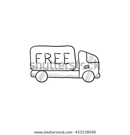 Free delivery truck vector sketch icon isolated on background. Hand drawn Free delivery truck icon. Free delivery truck sketch icon for infographic, website or app. - stock vector