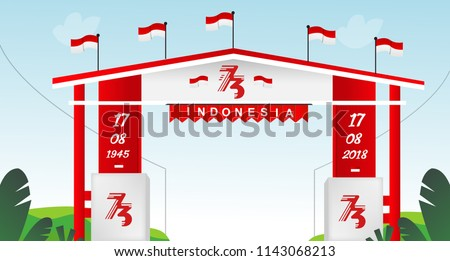 Free Gate Design Special Indonesia Independence Day 73 TH Flag red and white