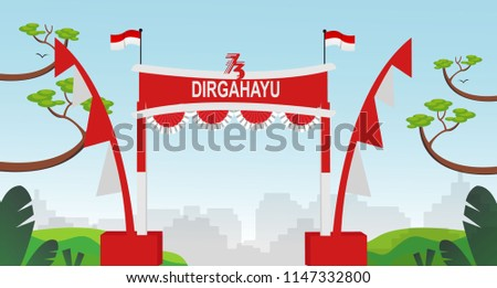 Free Gate Design 5 Special Indonesia Independence Day 73 th Flag red and white