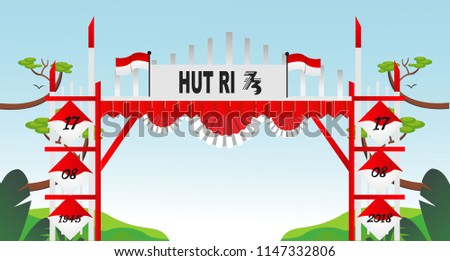 Free Gate Design 4 Special Indonesia Independence Day 73 th Flag red and white
