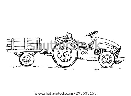 Free hand drawn sketch tractor trailer on white background. White background.