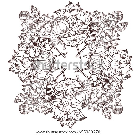 Free Hand Lotus Flower Vector For Coloring Book Of Buddha