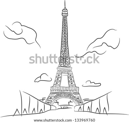 Free hand sketch collection:  Eiffel tower in Paris, France - stock vector