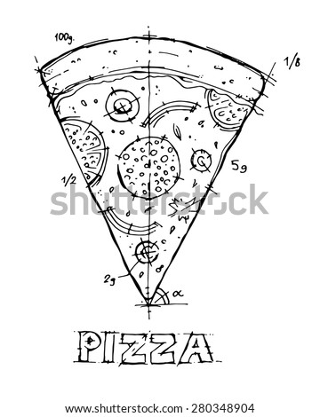 Free hand sketch pizza black ink on white background. Vector illustration. - stock vector