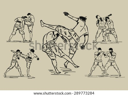 Free hand sketch Thai Boxing Collection : Muay Thai martial art popular around the world.  - stock vector