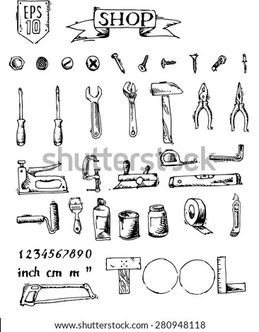 Free hand sketch tool set. Black on white background. Vector illustration. - stock vector