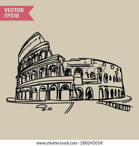 Free hand sketch World famous landmark collection : Colosseum in Rome, Italy. - stock vector