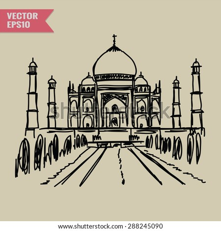 Free hand sketch World famous landmark collection : Taj Mahal, Agra, India.  - stock vector