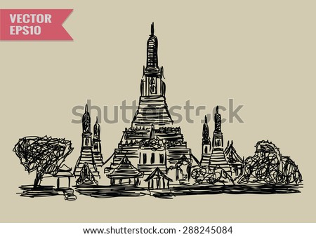 Free hand sketch World famous landmark collection : Wat Arun Temple in Bangkok, Thailand. - stock vector