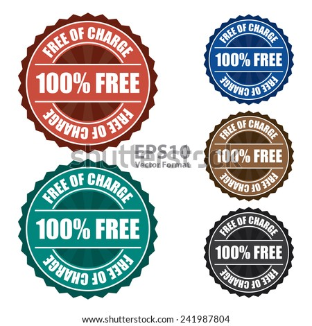 Free of charge icon, tag, label, badge, sign, sticker isolated on white, vector format - stock vector