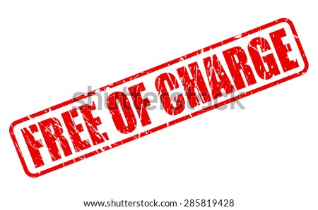 Free of charge red stamp text on white - stock vector