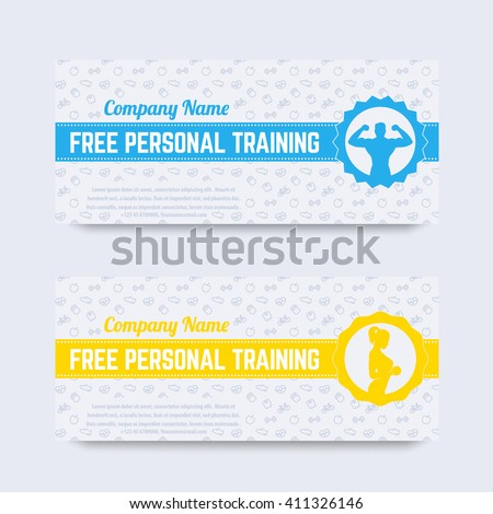 Free personal training gift voucher design stock vector 411326146 free personal training gift voucher design for gym fitness club modern template yelopaper Image collections