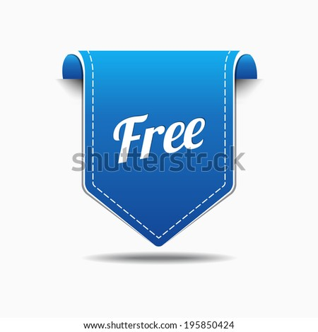 Free Product Blue Label Icon Vector Design - stock vector