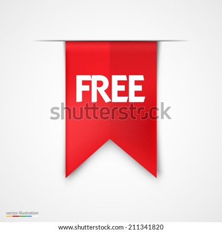 Free Product Red Label Icon Vector Design. Bright  background - stock vector