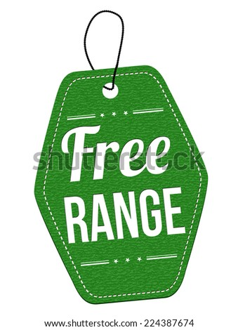 Free range green leather label or price tag on white background, vector illustration - stock vector