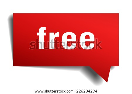 free red 3d realistic paper speech bubble - stock vector