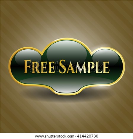 Free Sample golden badge - stock vector