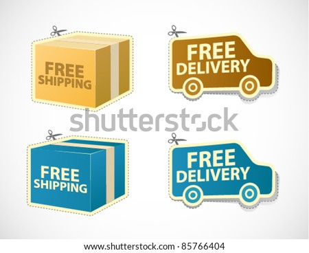 Free shipping and delivery stickers and badges - stock vector