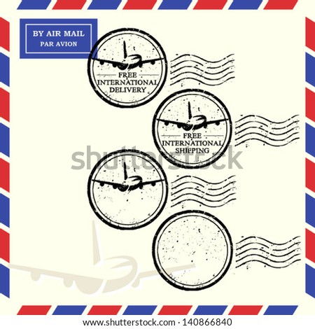 free shipping and free delivery stamp, also blank air mail stamp - stock vector