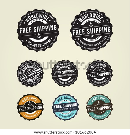 Free shipping badges - stock vector