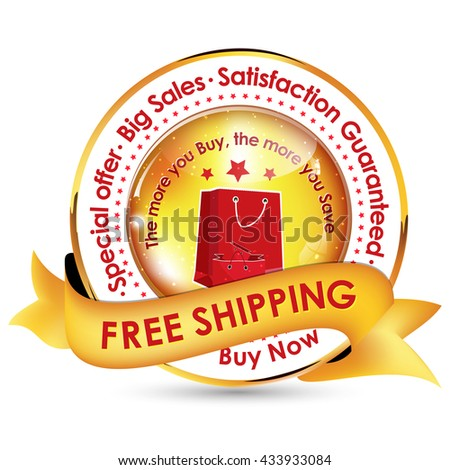 Free Shipping. Big offer, special sales, Satisfaction guaranteed - golden red ribbon for retailers - stock vector