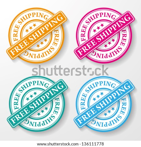 Free shipping colorful paper labels. - stock vector