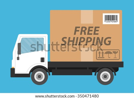 Free shipping concept. Delivery truck transporting a cardboard package with free shipping text on it. Flat style - stock vector