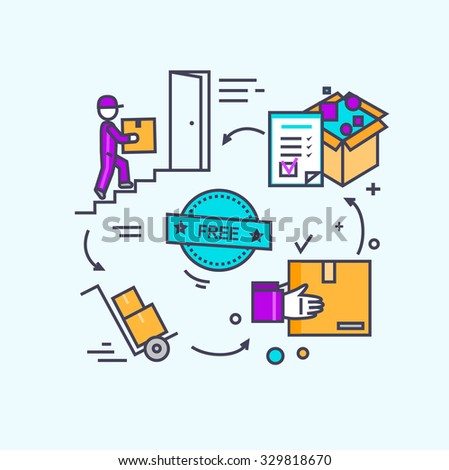 Free shipping concept icon flat design. Delivery order, service transportation, cargo logistic, package box, fast courier, deliver parcel, industry packaging illustration - stock vector