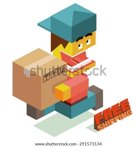 free shipping courier boy. vector illustration - stock vector