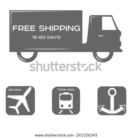 free shipping, delivery methods, black and white style, a set of icons or logos. vector illustration