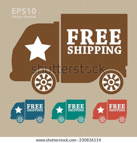 Free shipping icon, tag, label, badge, sign, sticker : vector format - stock vector