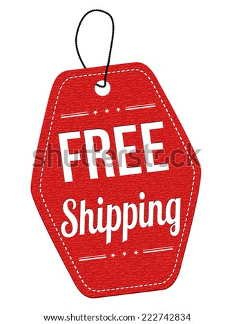 Free shipping red leather label or price tag on white background, vector illustration - stock vector