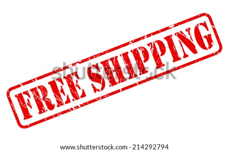 Free shipping red stamp text on white - stock vector