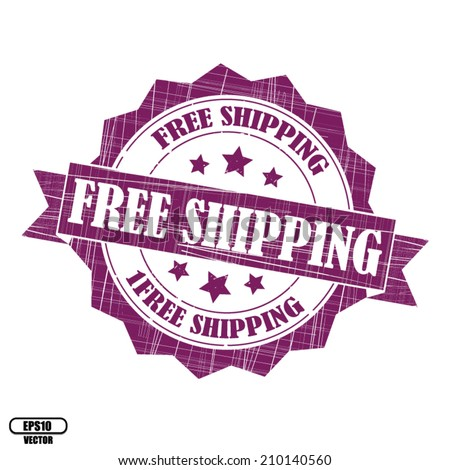 Free shipping rubber stamp, stickers, tag, icon, sign, symbol, badge and label present by violet color for business - Vector. - stock vector