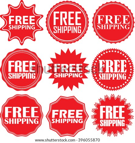 free shipping signs set free shipping sticker set vector