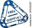 Free shipping stamp design with truck and trailer - stock photo