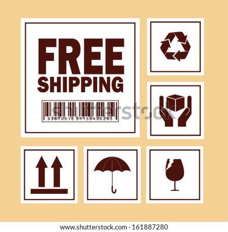 free shipping symbol on cardboard - Vector  - stock vector