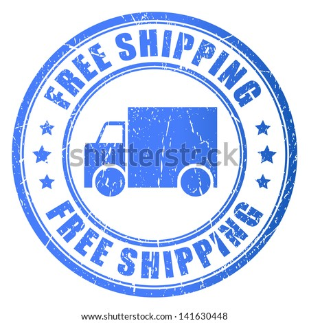 Free shipping, vector stamp illustration - stock vector