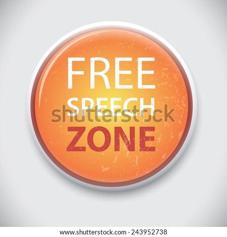 Free Speech Zone - Vector Pin Badge Button. - stock vector
