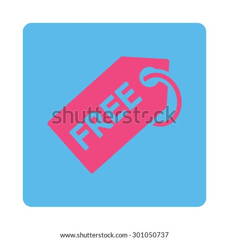 Free tag icon. This flat rounded square button uses pink and blue colors and isolated on a white background.