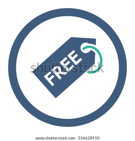 Free Tag vector icon. Style is bicolor flat rounded symbol, cobalt and cyan colors, rounded angles, white background. - stock vector