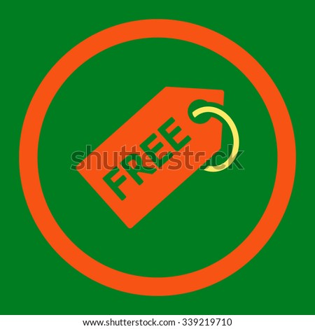Free Tag vector icon. Style is bicolor flat rounded symbol, orange and yellow colors, rounded angles, green background. - stock vector