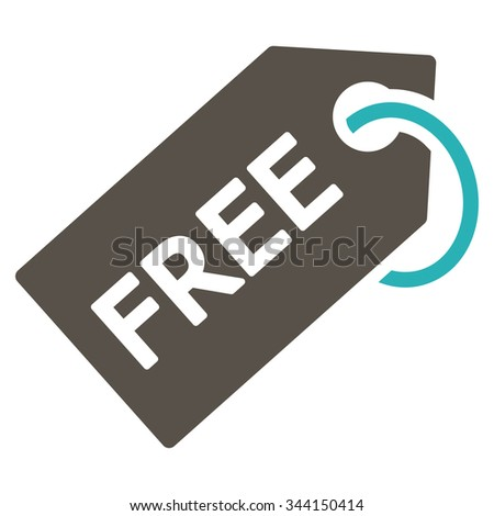 Free Tag vector icon. Style is bicolor flat symbol, grey and cyan colors, rounded angles, white background. - stock vector