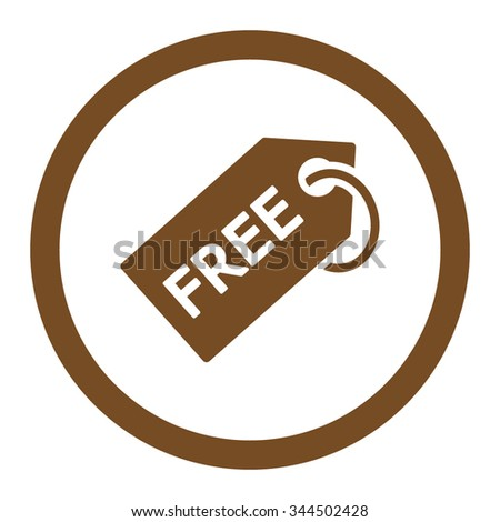 Free Tag vector icon. Style is flat rounded symbol, brown color, rounded angles, white background. - stock vector